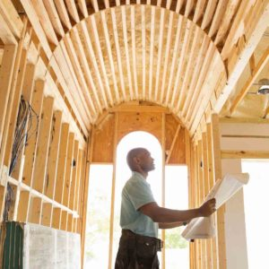 Builder building a home