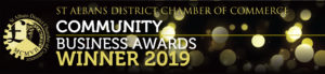 St Albans Chamber of Commerce Community Business Awards Winner 2019 banner